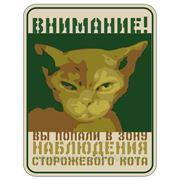"""Подарочная табличка """"Внимание! Вы попали в зону наблюдения сторожевого кота"""" фото"""