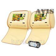 """Комплект подголовников со встроенным DVD плеером и LCD монитором 7"""" AVIS AVS0731T + AVS0732BM (бежевые) фото"""