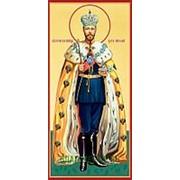 Храм Покрова Богородицы Николай II, царь, святой страстотерпец, икона на сусальном золоте (гладкий МДФ 6 мм без ковчега) Высота иконы 19 см фото