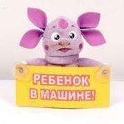 """Игрушка Лунтик с табличкой """"Ребенок в машине"""" фото"""