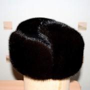 Головные уборы мужские, зимние шапки — ушанки из меха норки комбинированные с натуральной кожей. фото