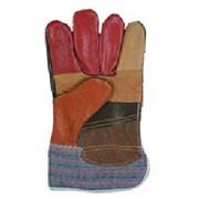 Перчатки кожаные комбинированные - Радуга фото