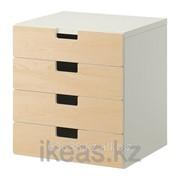 Комбинация для хранения с ящиками, белый, береза СТУВА фото