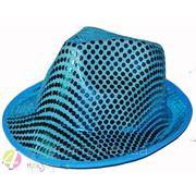Шляпа Твист в поетках голубая фото