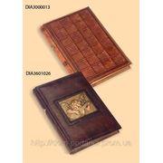 """Дневник """"Сиена"""" в обложке из натуральной кожи с рельефным узором и золотыми вставками фото"""