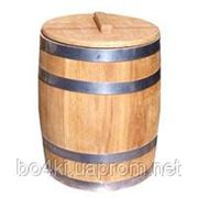 Бочка деревянная для солений, кадка 10л обруч из черного металла фото