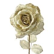 Декор Роза на стебле из шелка золотистая с блеском фото