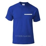 Футболка синяя Hummer вышивка белая фото