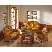 Набор кожаной мебели, диван кровать кожаный, кожаные кресла для офиса фото