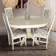 Комплект обеденный Престиж слон. кость из массива бука -стол + 4 стула фото