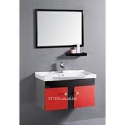 Комплект мебели для ванной комнаты красный фото