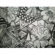 Бифлекс черный с серебристым цветочно-абстрактным рисунком фото