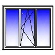 Окно ПВХ трехстворчатое 2050х1400 (кирпич,гл+п/о+гл) фото