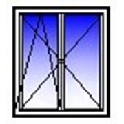 Окно ПВХ двухстворчатое 1350х1400 (кирпич, п+п/о) фото
