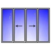 AL балконная рама четырехствор. 3000х1500 (гл+2раздв.+гл) стекло 4мм) фото