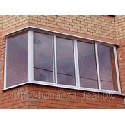 Балконная рама раздвижная (алюминиевая конструкция) Г-образная боковая часть глухая