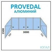 Алюминиевая балконная рама 3000х1500 (ШхВ)+700х1500 2шт (ШхВ) открываются