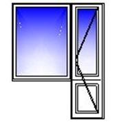 Балконная дверь 700х2150, окно 1350х1400 (кирпич, п/о+гл) фото