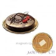 Коробка для торта (крышка и поднос) круглий золото (28 см) фото