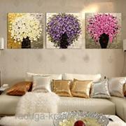 Картина стразами триптих Три букета 50х50х3 см фото