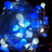 """Светодиодная гирлянды """"нить шарики 25мм """" цвет синий фото"""