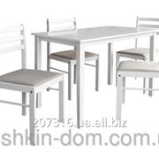 Комплект обеденный Сириус белый из натурального дерева -стол + 4 стула фото