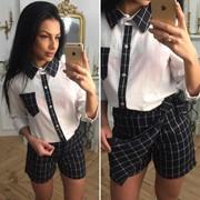Женский костюм тройка: рубашка и шорты-юбка, в расцветках (ОС-6-0418) фото