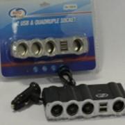 Аксессуары автомобильные, Разветвитель прикуривателя 4-ой +2 выхода USB AUTOVIRAZH, AV-4004 фото