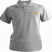 Рубашка поло Peugeot серая вышивка золото фото