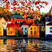 Картина по номерам Домики у реки - Л.Афремов фото