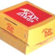 Упаковка гамбургер 100х100х60мм (со склейкой) ХАНСОЛЬ (белый внутри) цветность 2+0 СМYK от 1000 фото