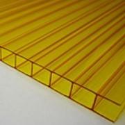 Поликарбонат сотовый 12000х2100х8 желтый фото