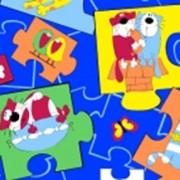 Ткань постельная Фланель 170 гр/м2 90 см Набивная 8512-4 Пазлы на синем/S918 PTS фото