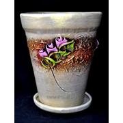 """Горшок для цветов из керамики ручной работы """"Тайвань средний розы"""" фото"""