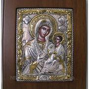 Икона Матерь Божья Тихвинская с позолотой в серебре фото
