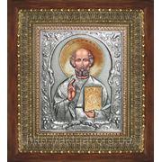 Икона Николай Чудотворец золотой венец фото