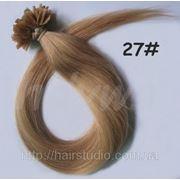 Волосы натуральные на кератиновых капсулах, оттенок №27. 50 см 100 капсул 50 грамм фото
