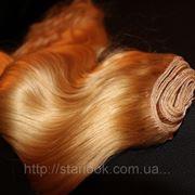 Натуральные европейские вьющиеся волосы на трессе длиной 70 см оттенок №613 фото