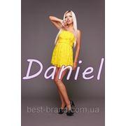 Платье узор цветы открытые плечи желтый фото