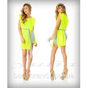 Платье шифон с пояском лимон фото