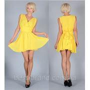 Платье сзади бант завязки желтый