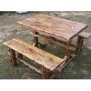 Деревянная мебель под старину.Стол и скамейки. фото