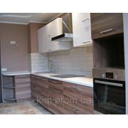 Кухня МДФ белый глянец/слива фото