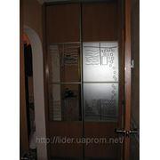 Шкафы-купе с рисунком на зеркале и вставками из ДСП, Одесса