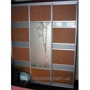 Шкафы купе на заказ Чернигов — фасад зеркало и натуральный ротанг