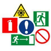 Знаки безопасности; предупреждающие таблички; стенды по пожарной и электробезопасности по БЖД и ГО фото