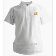 Рубашка поло Hyundai белая вышивка золото фото