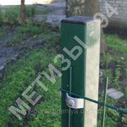 Столб для забора из профильной оцинкованной трубы с полимерным покрытием 40х40х2,0 мм высотой 2,0 м фото