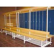 Скамейки для раздевалок металл/сосна фото
