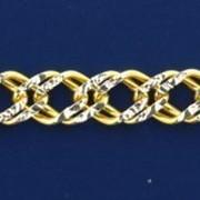Серебряная позолоченная цепь с алмазными гранями фото